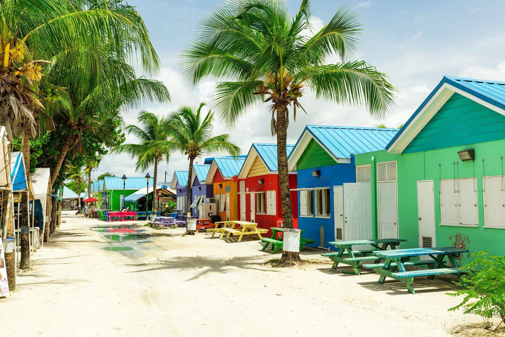 Colorful houses on the tropical island of Barbados in the Caribbean